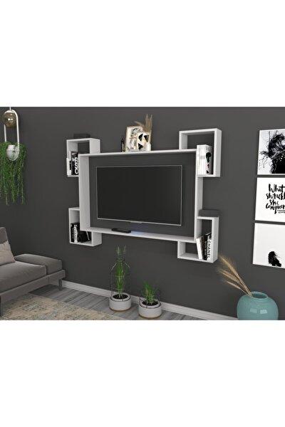 Trendsetter Kitaplıklı Raflı Duvar Tv Ünitesi Beyaz