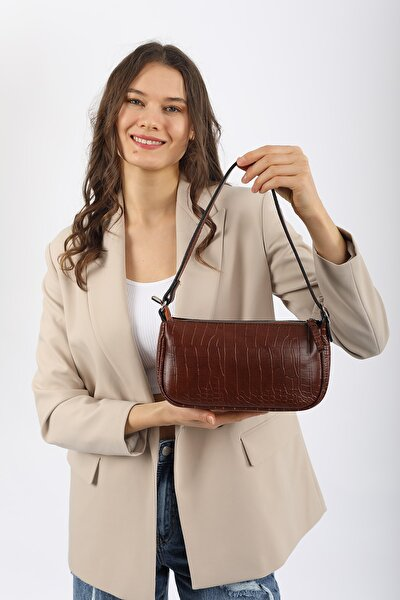 Aynı Butikte 2. Ürün 1 TL Taba Kroko Kadın Baguette Omuz Çantası