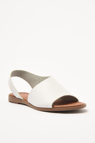 Kadın Beyaz Hakiki Deri  Sandalet 01SAY209320A900