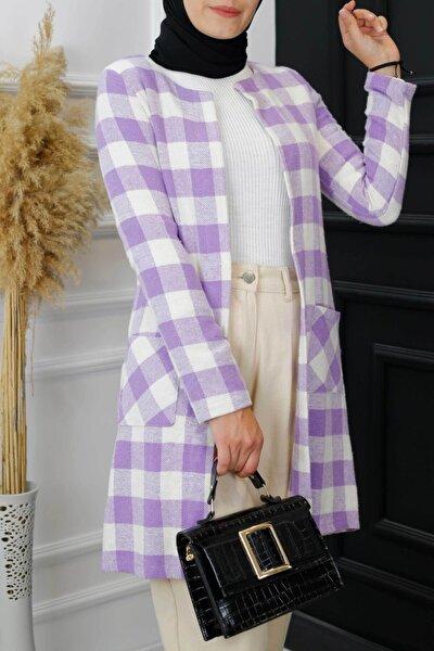 Ekose Kaşe Ceket-lila/beyaz