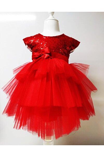 Kız Çocuk Kırmızı Tüllü Pul Payetli Parti Elbisesi