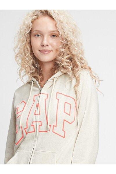 Kadın Bej Logo Kapüşonlu Sweatshirt