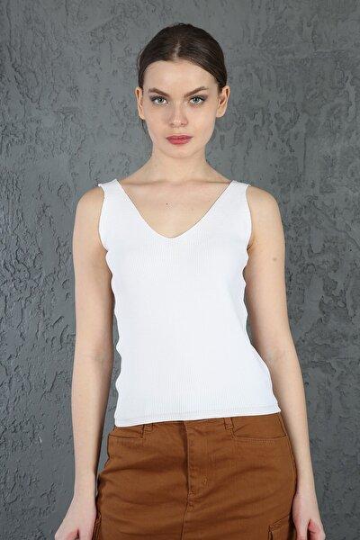 Kadın Beyaz V Yaka Askılı Selanik Örgü Yazlık Triko Crop Bluz