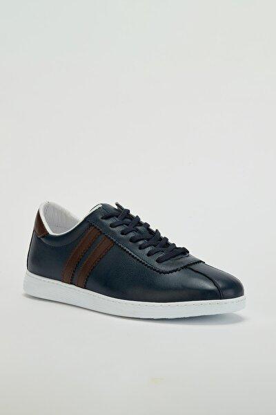 Erkek Lacivert Hakiki Deri Sneaker Ayakkabı Mgversay02