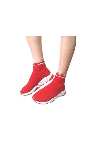 Kırmızı Kadın Triko Streç Çorap Bot Sneaker Günlük Spor Ayakkabı