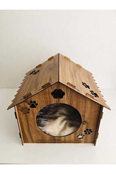Ahşap Dekoratif Minderli Kedi Yatağı