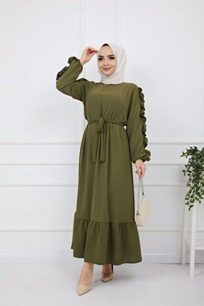 KAdın yeşil Kol Fırfırlı Ayrobin Kumaş Elbise