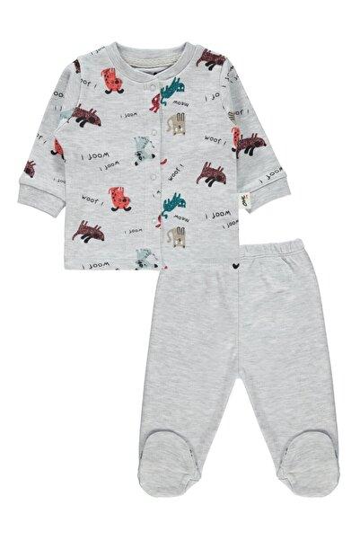 Erkek Bebek Pijama Takımı 0-6 Ay Gri