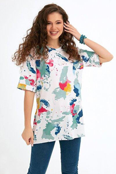 Kadın Yeşil Batik Desenli Fitilli Salaş Tshirt