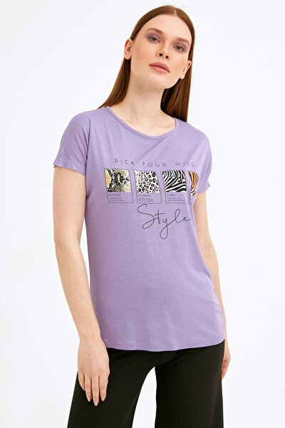 Kadın Lila Baskılı Tshirt