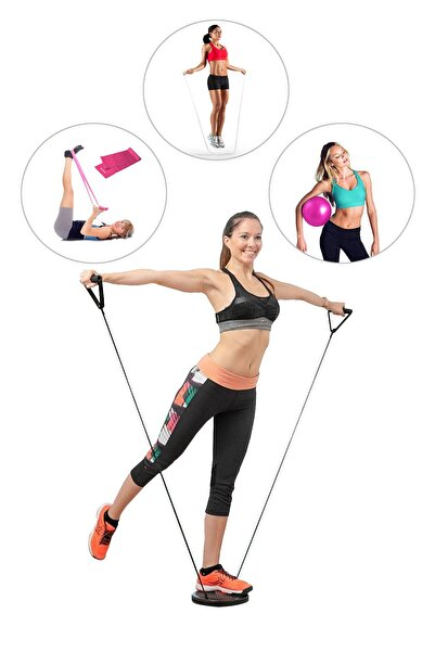 Çekme Lastikli Bel Inceltici Twister + Denge Topu + Pilates Bandı + Atlama Ipi - 4'lü Set