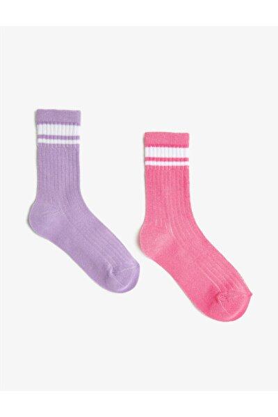 Kiz Çocuk Seritli Çorap Seti 2'li Pamuklu