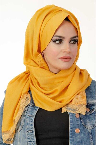 Kadın Sarı Dantelli Şapkalı Şal