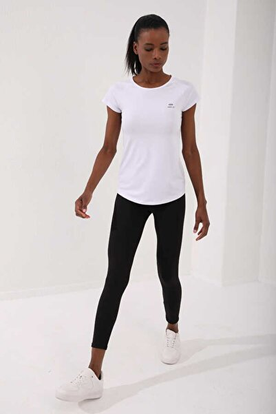Kadın Beyaz Bisiklet Yaka Arka Yazı Detaylı Spor T-shirt 97101-02
