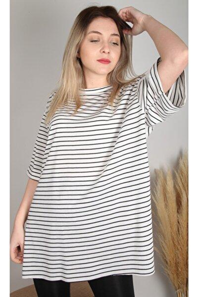 Kadın Beyaz Siyah Çizgili T-Shirt