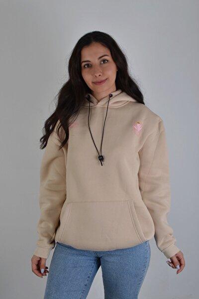 Unisex Bej Kapüşonlu Native Flower Sweatshirt