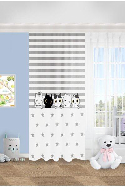 Sevimli Kediler Çocuk Odası Fon Perde
