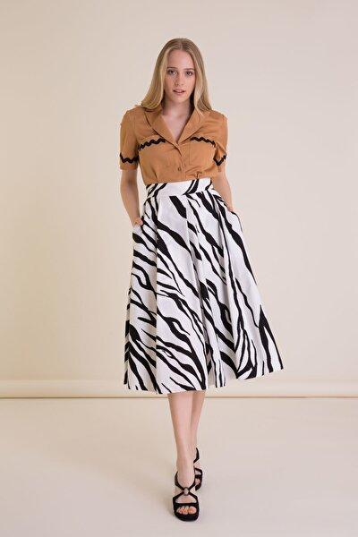 Zebra Desenli Siyah Beyaz Midi Etek