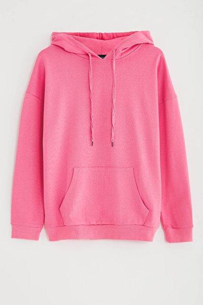 JANE Kadın Pembe Basic Kapüşonlu Sweatshirt