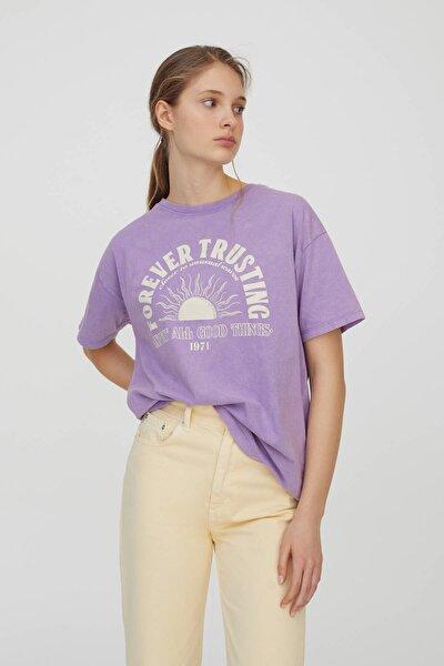 Kadın Lila Grafik Güneş Baskılı Lila T-Shirt 04240383