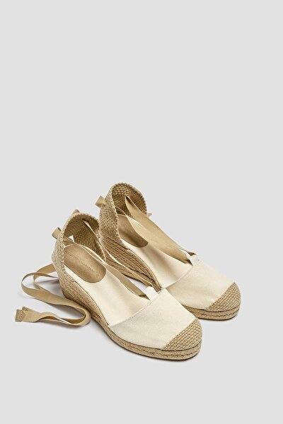 Kadın Ekru Bağcıklı Jüt Dolgu Topuk Sandalet 11502740