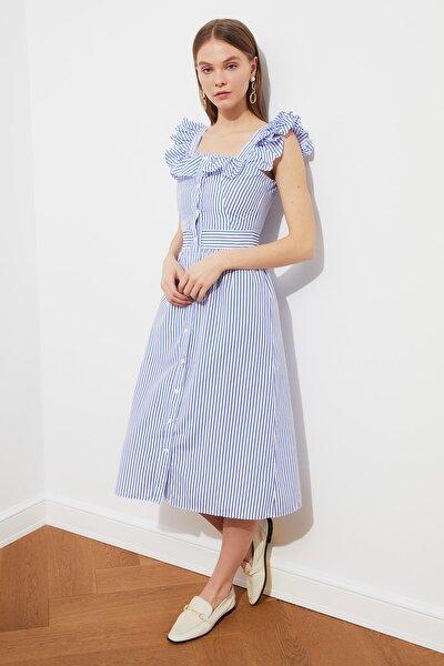Mavi Kare Yaka Fırfırlı Çizgili Elbise TWOSS21EL1306