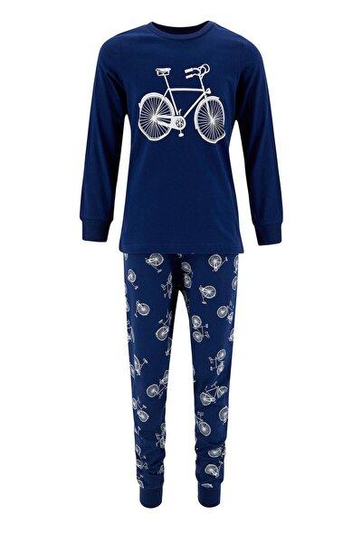 Erkek Çocuk Bisiklet Basklı Pijama Takımı