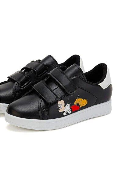 Çocuk Siyah Sneaker Hafif Rahat Taban Günlük Çırtlı Spor Ayakkabı