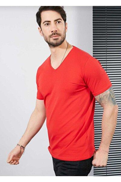 Erkek Kırmızı V Yaka T-Shirt
