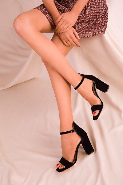 Siyah Süet Kadın Klasik Topuklu Ayakkabı 15976