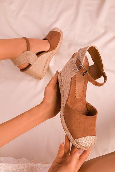 Taba Süet Kadın Dolgu Topuklu Ayakkabı 15989