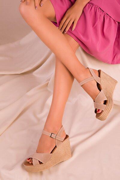 Ten Süet Kadın Dolgu Topuklu Ayakkabı 15943