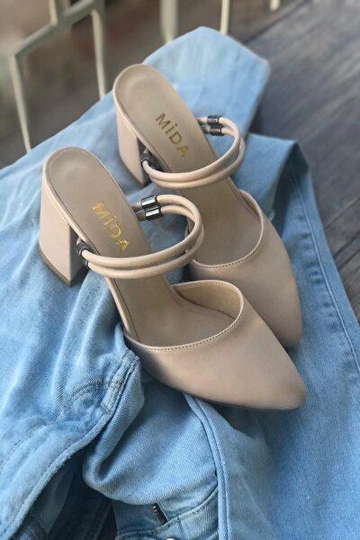 Kadın Vizon Çift Bantlı Topuklu Ayakkabı