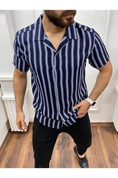 Erkek Lacivert Desenli Kısa Gömlek