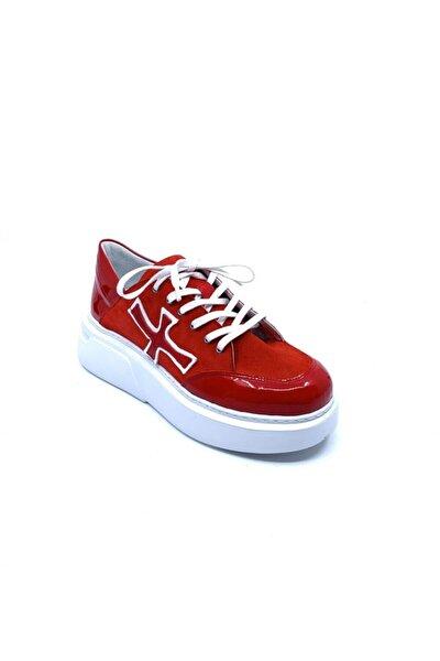 Kadın Kırmızı Deri Sneaker