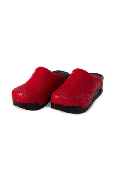 El Yapımı Ortopedik Siyah Taban Airmax Kırmızı Sabo Terlik