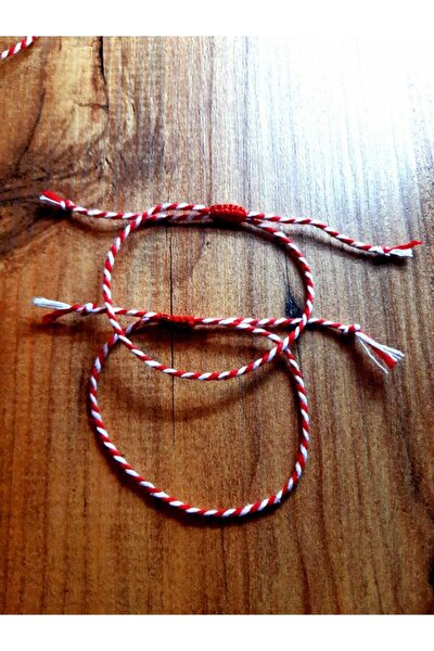 Marteniçka Kırmızı Beyaz Ip Bileklik Çift Bilekliği Kırmızı Makromeli 2'li