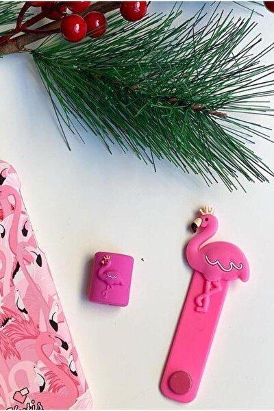 Sevimli Pembe Flamingo Kablo Koruyucu ve Toparlayıcı 2'li Set