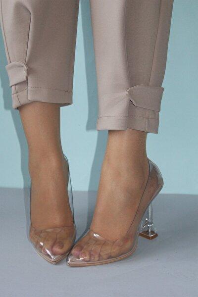 Kadın Ten Şeffaf Topuklu Ayakkabı