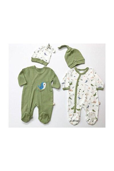 Unisex Bebek Yeşil Kuş Baskılı 2'li 4 Parça Tulum
