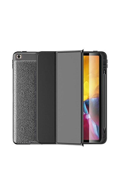 Ipad 10 2 Inch 8 Nesil Uyumlu Siyah Deri Görünümlü Kapaklı Silikon Kılıf