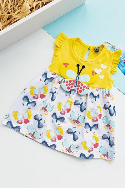 Kız Bebek Kelebek Figürlü Yazlık Penye Elbise