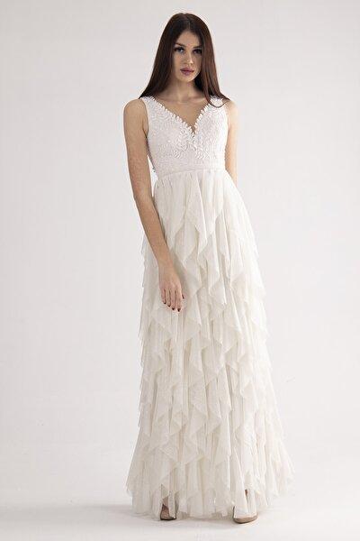 Kadın Beyaz V Yaka Simli Pul Detaylı Abiye & Mezuniyet Elbisesi 9704658