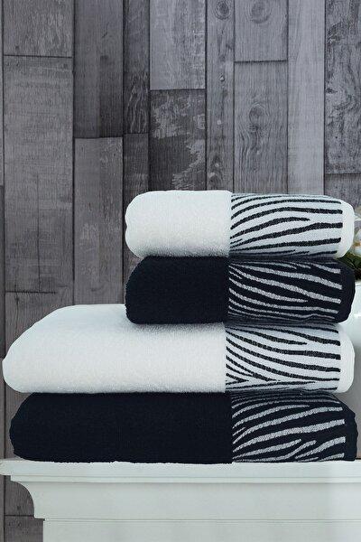 Beyaz Zebra Banyo Havlu Seti 4'lü