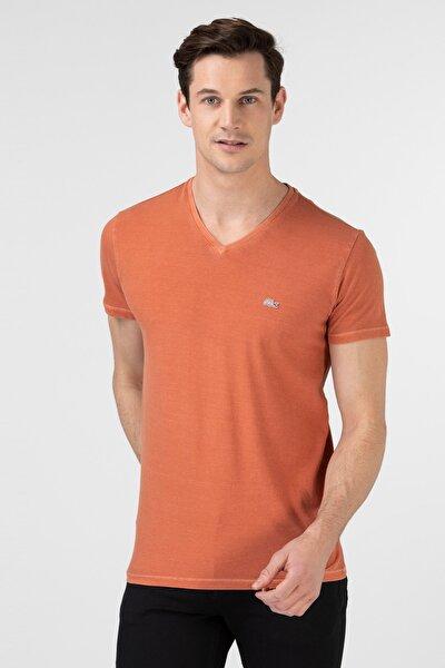 Erkek Slim Fit V Yaka Turuncu T-Shirt TH0026