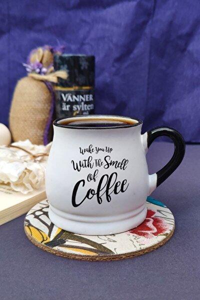 Porselen Fincan Kupa Kahve Beyaz Baskılı