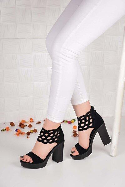 Kadın Siyah Lazerli Dolgu Topuk 10 cm Ayakkabı Ba20596