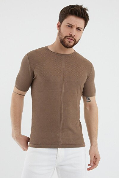 Erkek Kahverengi Bisiklet Yaka Tişört