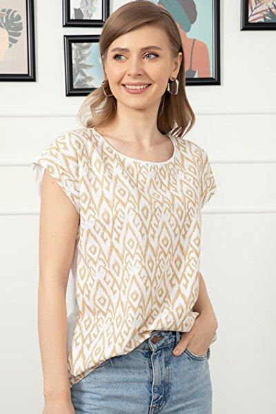 Kadın Bej Beyaz Sıfır Yaka Baskılı Tırnak Kol T-shirt