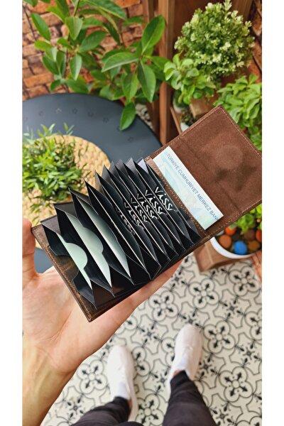 Kahve Matrix Hakiki Deri Akordeon Deri Kredi Kartlık Deri Cüzdan Çanta